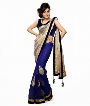 Bollywood Style Blue Net Saree With Cream Pallu And Heavy Embroidery Work Border PSEAFDS011