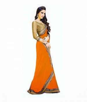 Designer Orange With Golden Border Georgette Fabric Saree� PSEAFRS004