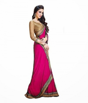 Designer Pink With Golden Border Georgette Fabric Saree� PSEAFRS005