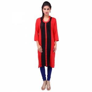 Red and Black reyon straight kurti AR1013