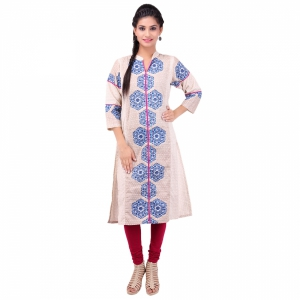 beige and Blue pure khadi cotton straight kurta AR1015