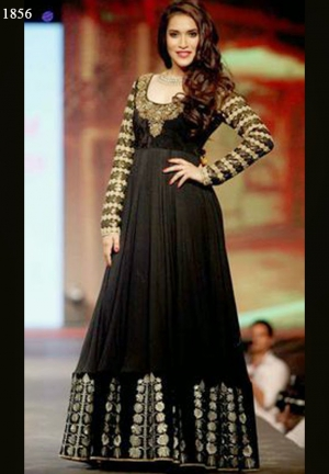 Rashmi Nigam Floor Length Black Anarkali Suit BWA1032