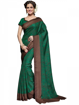 Manvaa Green Bhagalpuri Printed Casual Sarees Time To Get In Trend KR1174