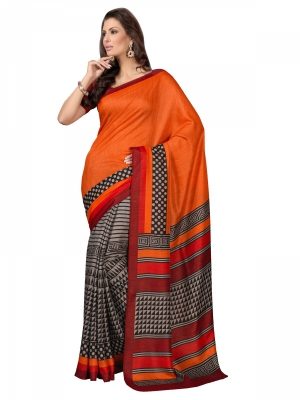 Manvaa Orange Bhagalpuri Printed Casual Sarees Straight From Manufacturers KR1179