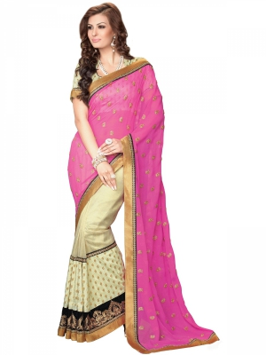 Manvaa Beige And Pink Georgette Embroidered Party Next Generation Sarees KR1193