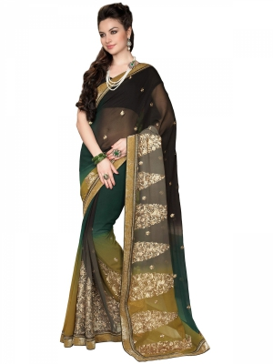 Manvaa Multicolor Georgette Embroidered Party Sarees Ready To Ship KR1198