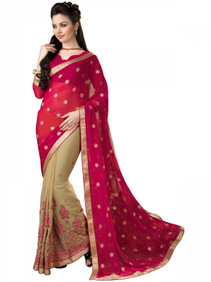 Manvaa Pink And Beige Georgette Embroidered Party Sarees Vel KR1200