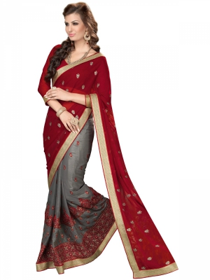 Manvaa Red And Gray Georgette Embroidered Party Sarees KR1202