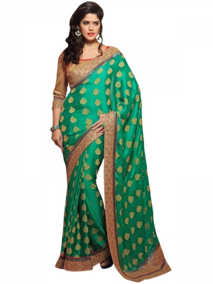 Manvaa Green Embroidered Casual Wear Georgette Saree With Blouse Piece BMN7707