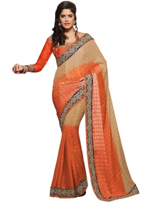 Manvaa Multi-Color Embroidered Casual Wear Georgette Saree With Blouse Piece BMN7713
