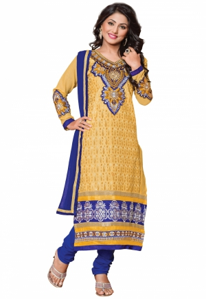 Manvaa Yellow And Blue Embroidered Suit With Semi-Cotton Fabric KAP1002