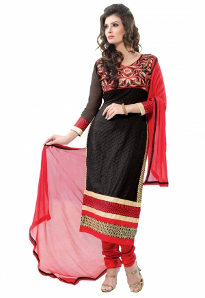 Manvaa Black And Red Embroidered Suit With Georgette Fabric KF2003