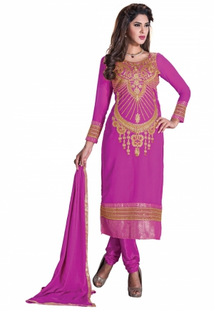 Pink Manvaa Embroidered Suit With U-Neck And Full Sleeves KMR6105