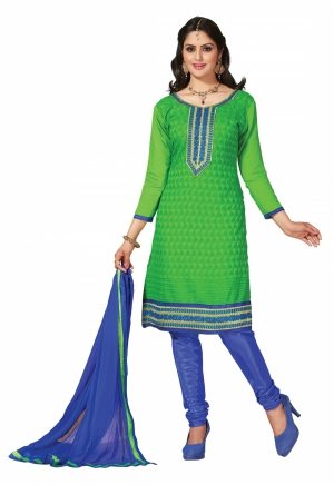 Manvaa Green And Blue Embroidered Suit With Chanderi Cotton Fabric KNH30008