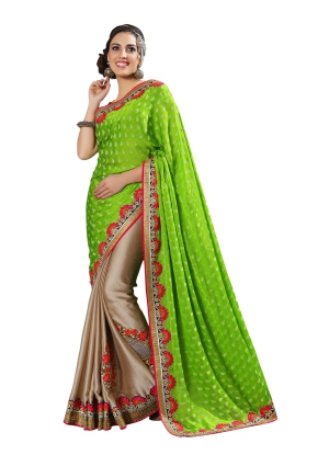 Manvaa Multi-Color Embroidered Casual Wear Jacquard Saree With Blouse Piece LZ17009