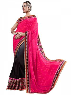 Manvaa Multi-Color Embroidered Casual Wear Georgette Saree With Blouse Piece LZ17013