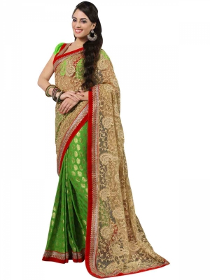 Manvaa Multi-Color Embroidered Casual Wear Georgette Saree With Blouse Piece LZ17017