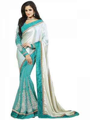 Manvaa Multi-Color Embroidered Party Wear Georgette Saree With Blouse Piece NNP1108B