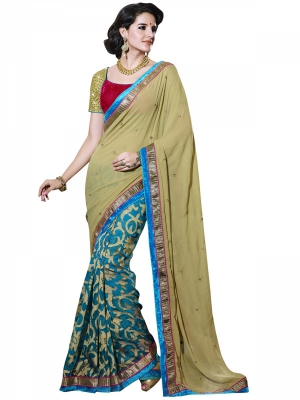 Manvaa Multi-Color Embroidered Party Wear Georgette Saree With Blouse Piece NNP1112