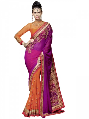 Manvaa Multi-Color Embroidered Party Wear Georgette Saree With Blouse Piece NNP1206