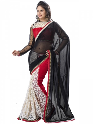 Manvaa Multi-Color Embroidered Party Wear Georgette Saree With Blouse Piece OKS9019