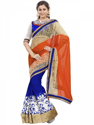 Manvaa Multi-Color Embroidered Party Wear Georgette Saree With Blouse Piece OKS9023