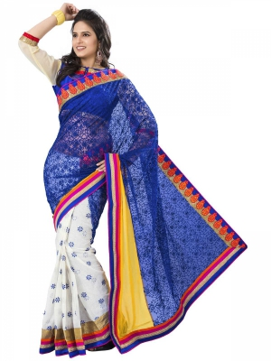 Manvaa Multi-Color Embroidered Party Wear Georgette Saree With Blouse Piece OKS9028