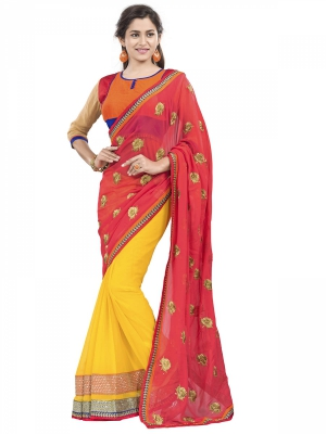 Manvaa Multi-Color Embroidered Party Wear Georgette Saree With Blouse Piece OKS9030