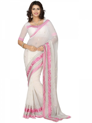 Manvaa White Embroidered Casual Wear Jacquard Saree With Blouse Piece SSMY21004