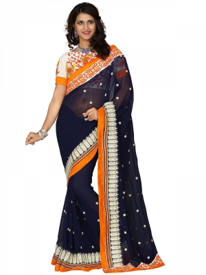 Manvaa Multi-Color Embroidered Casual Wear Georgette Saree With Blouse Piece SSMY21009