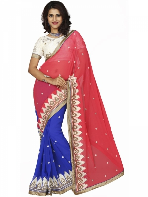 Manvaa Multi-Color Embroidered Casual Wear Georgette Saree With Blouse Piece SSRC11108