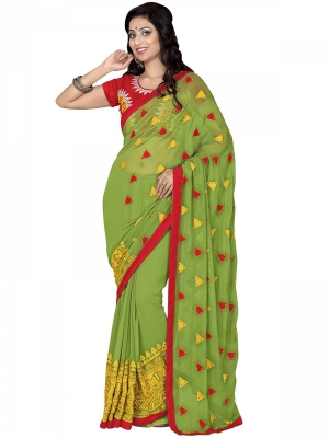 Manvaa Multi-Color Embroidered Casual Wear Georgette Saree With Blouse Piece SSRC11113