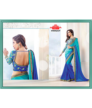 Sophie Choudry In Dark Blue And Sky Blue Shaded Satin Georgette Saree TS-9317