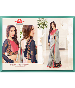 Embroidered Georgette Grey  Saree TS-9321