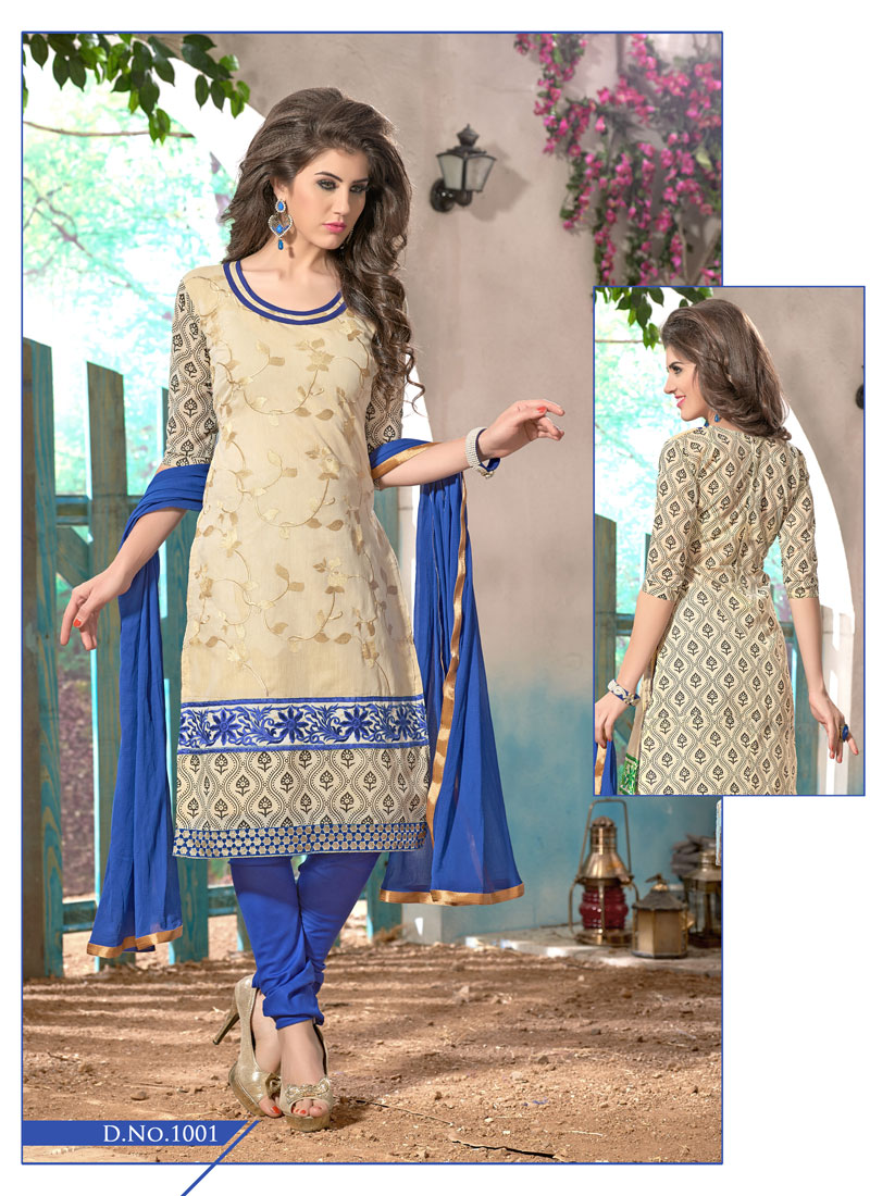 4e27b9cef5 Buy Khantil Buy Cotton Blue Cream Dress Material DM2234 1001 | Cheer  Shopping