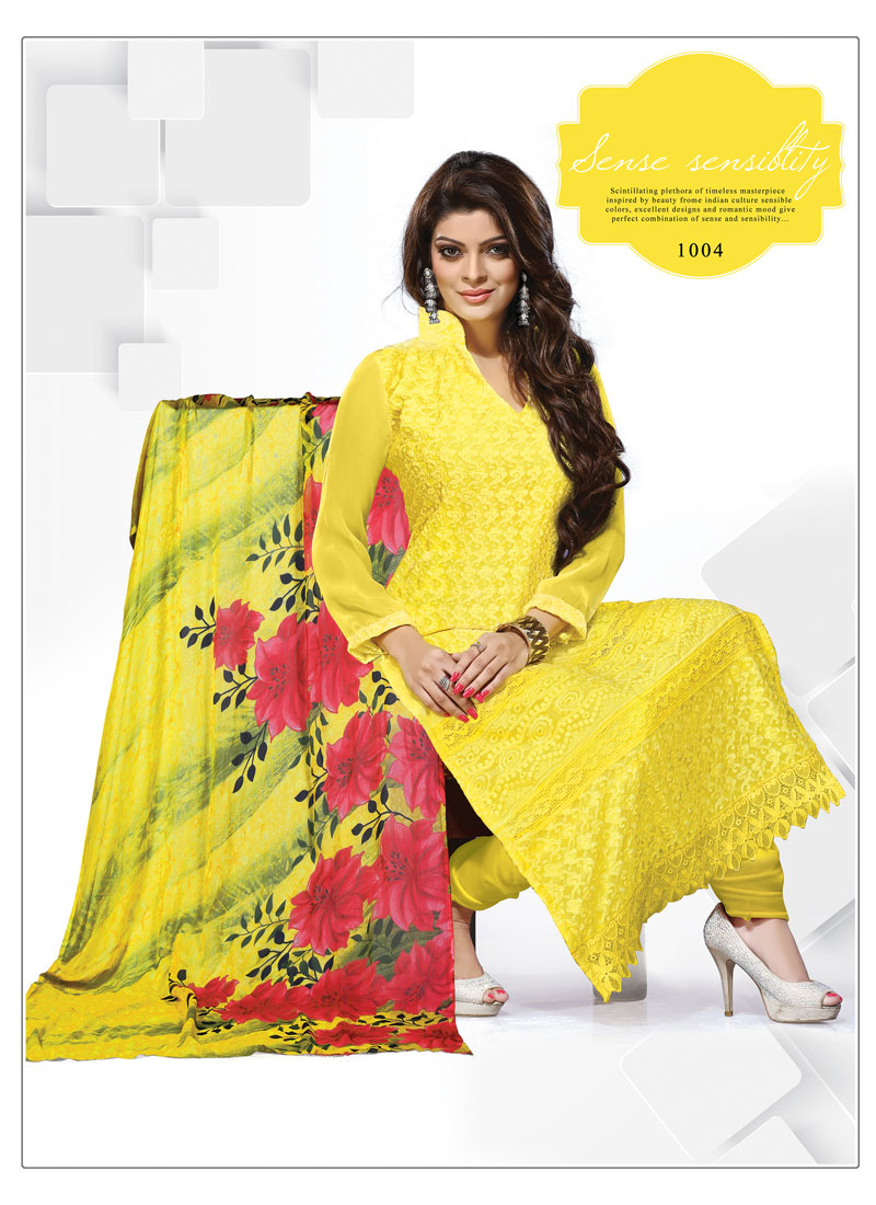 Khantil Shopping For Yellow Schilli Work Dress Material DM2261-1004