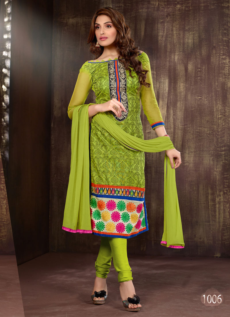 57ecc4458d Buy Khantil Buy Parrot Green Cotton Dress Material DM2262 1006 | Cheer  Shopping