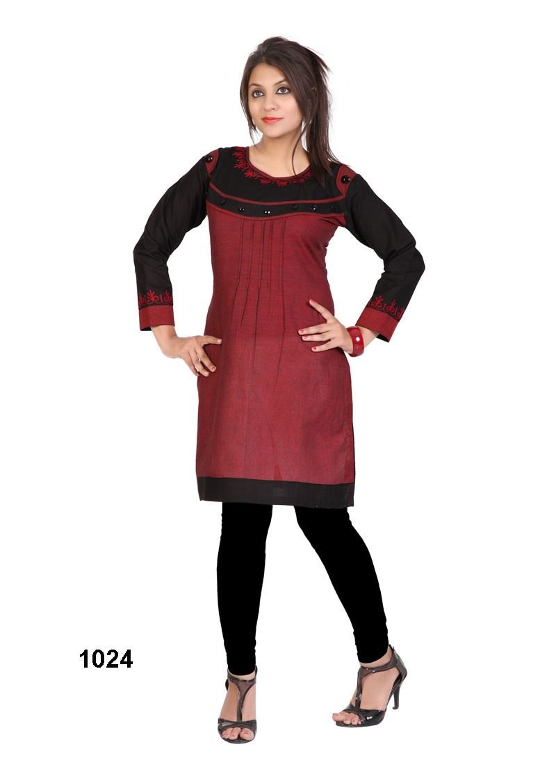 Khantil Maroon Colour Simple Cotton Kurti   KT32-1024
