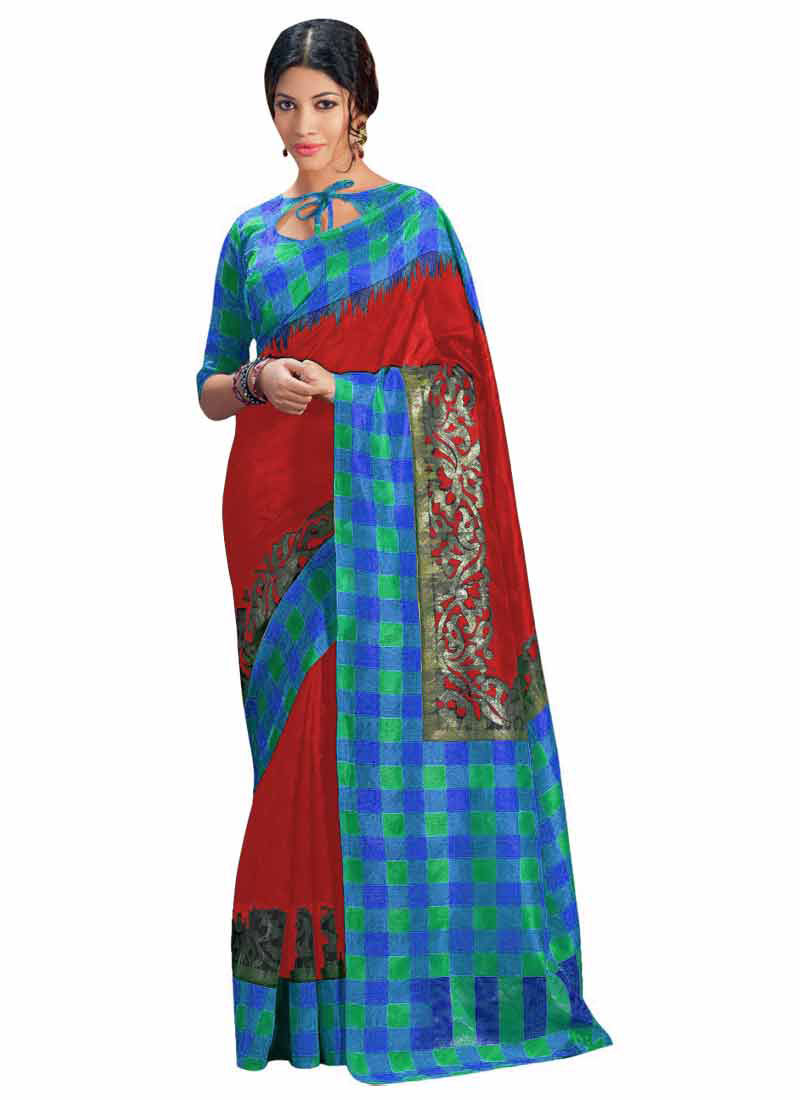 Khantil Buy Indian Bhagalpuri Red Printed Saree PS1048-02