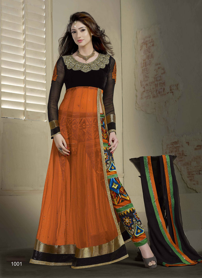 Khantil Different Designer Orange Anarkali Suit SS2336-1001