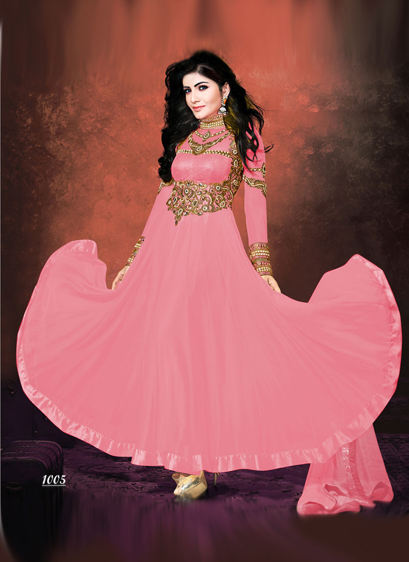 Khantil Exclusive Baby Pink Georgette Embroidered Neck Anarkali Suit SS2352-1005