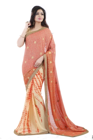 Club Art Decor Designer Orange And Craem  Saree By A Kumar CLUBARTDECOR34009SR
