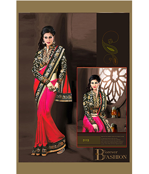Indian Beautiful Party Wear Sattin Chiffon Padding Saree And Georgette And Row Silk Blouse 3113