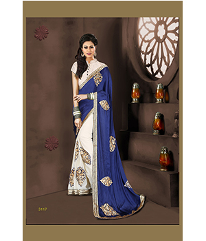 Indian Beautiful Party Wear Silk Georgette Saree And Banarasi Blouse 3117