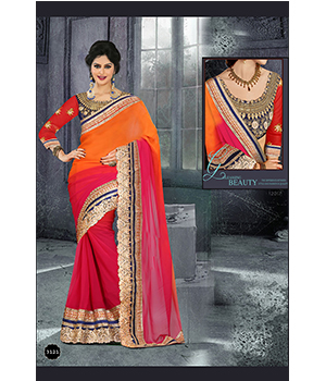 Indian Designer Beautiful Party Wear Georgette Padding Saree And Georgette Blouse 3121