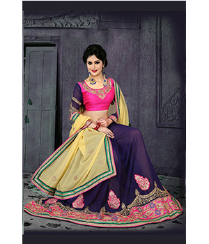 Indian Beautiful Party Wear Georgette Saree And Georgette And Raw Silk Blouse 3125