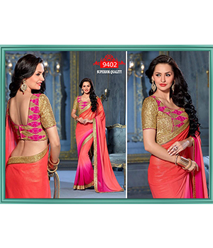 Designer Beautiful Party Wear Padding Georgette Saree With Matti Jari Blouse 9402
