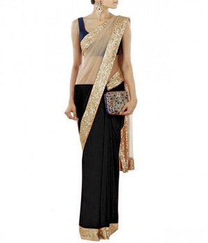 Designer Black and Gold Designer Paretywear Saree uf123