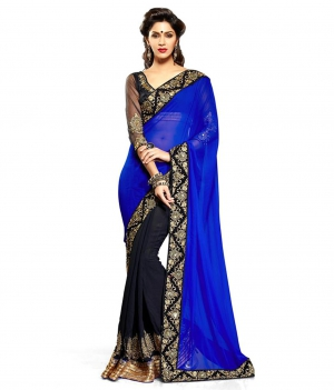 Latest Black and Blue With Gold Border Saree uf144