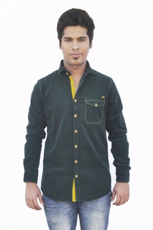 Apris Full Sleeve Corduroy shirt S3035_M.GREEN